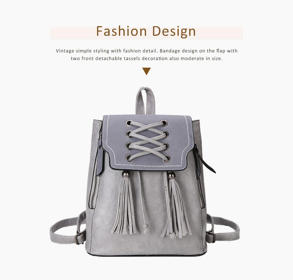College School Bag Gifts for Women & Girl Backpack Vintage Casual Tassels PU Leather Shoulder Bag 3