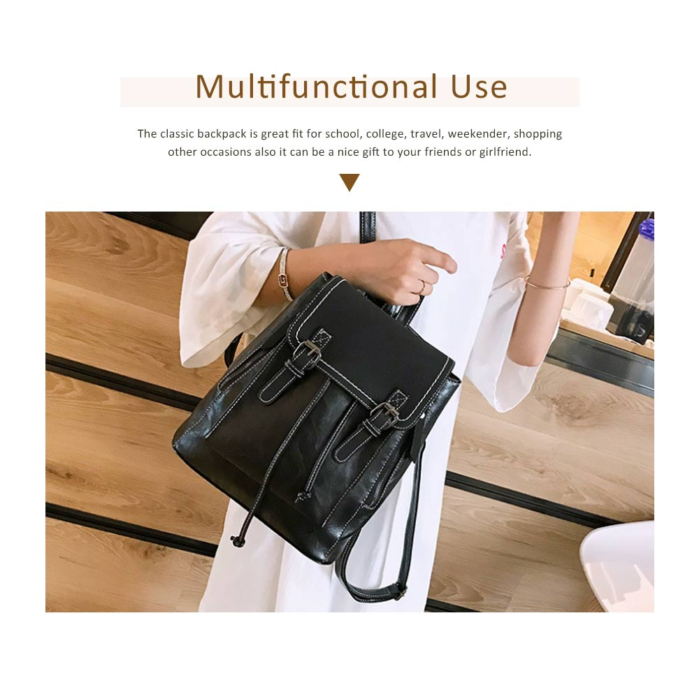 Retro Backpack with Casual Buckle Flap PU Leather Shoulder Bag Fashion Accessories College School Bag Gifts for Women Girls 4