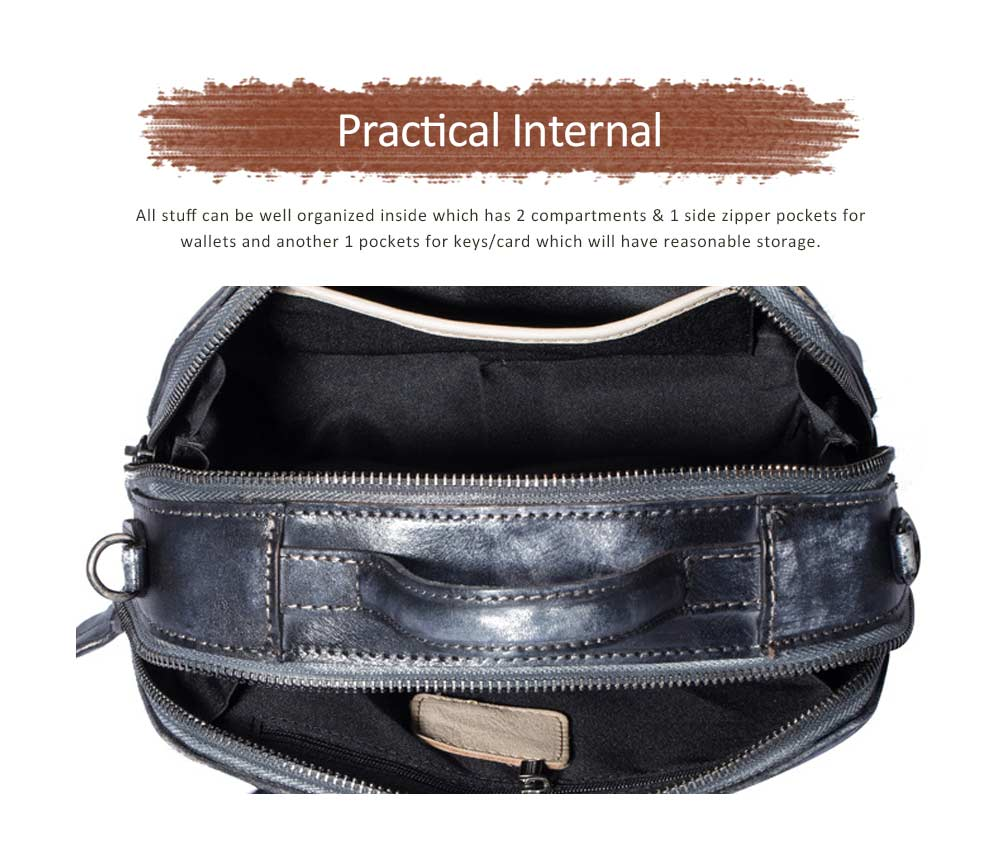 Retro Color Layer Leather Handbag With Hardware Fasteners, Fashion Original Pure Portable Diagonal Personality Small Bag 4