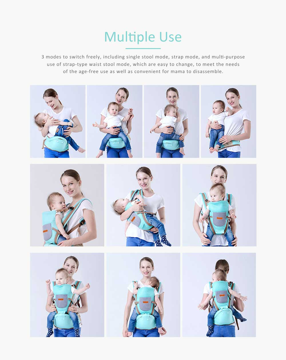 Breathable Baby Carrier, Multi-Functional Wrist Steel Strap With 3D Breathable Mesh Cloth For Baby 4