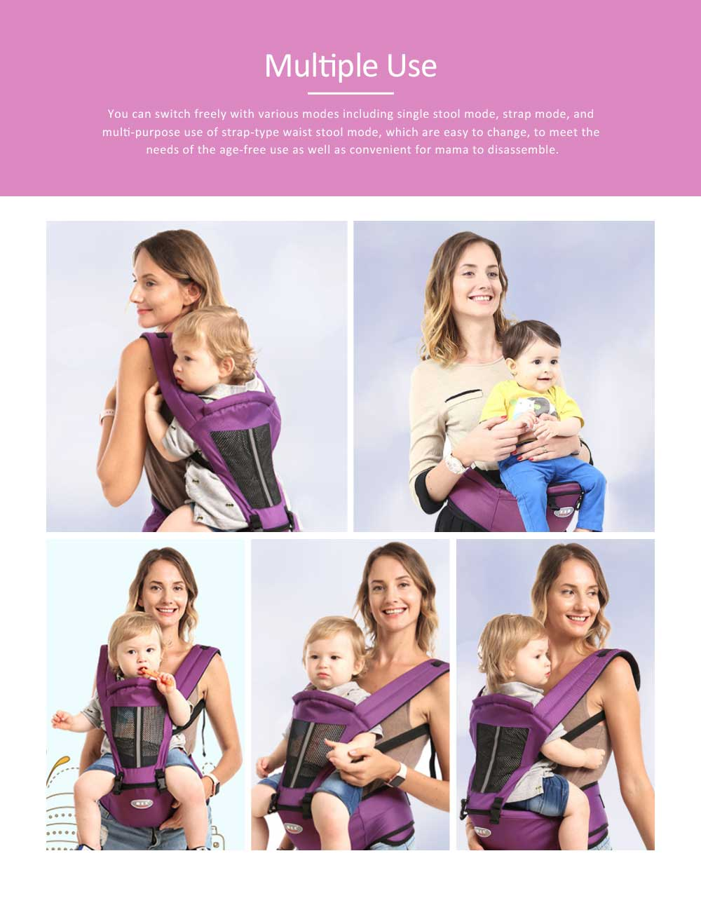 Best Baby Carrier for Newborn, Breathable Non-slip Baby Lab with Multiple Functions and for Four Seasons General 4