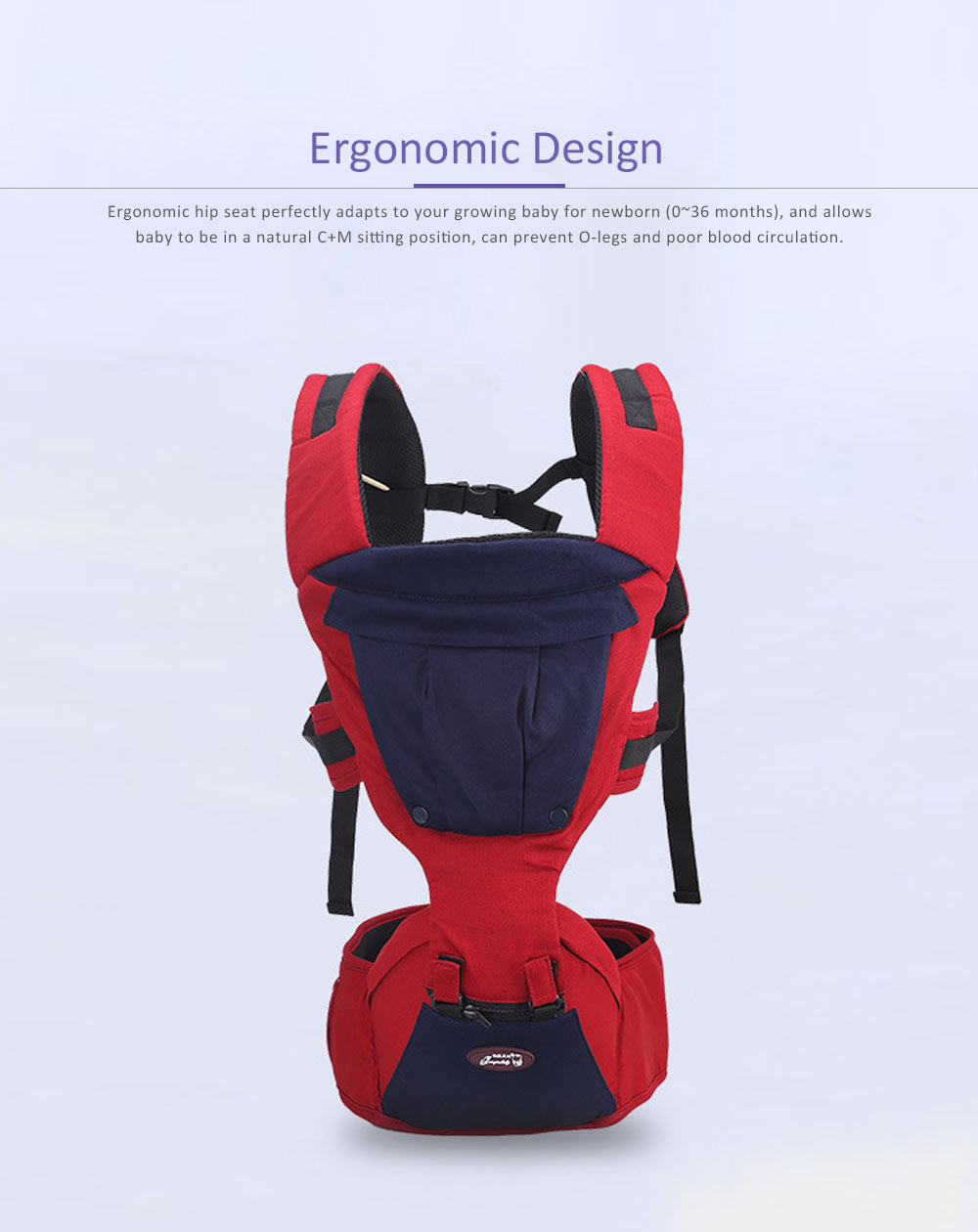 Multifunctional Baby Carrier with Breathable Hip Seat for Four Seasons General, Detachable Strap One Size Fits All -Adapt to Newborn and Infant 4