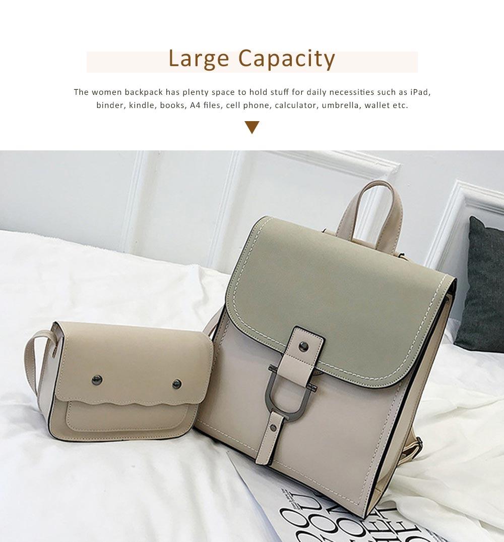 Backpack & Shoulder Bag Vintage Casual Flap PU Leather Bag Set, Large Capacity magnetic Handbags College School Bag With Shoulder Bag 3