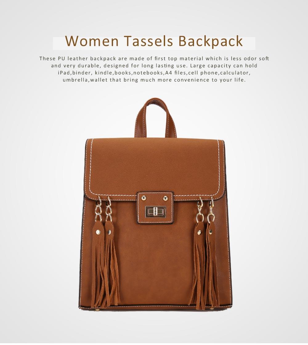 Tassels Handbags College School Bag Large Capacity Backpack Vintage Casual Flap PU Leather Shoulder Bag 0