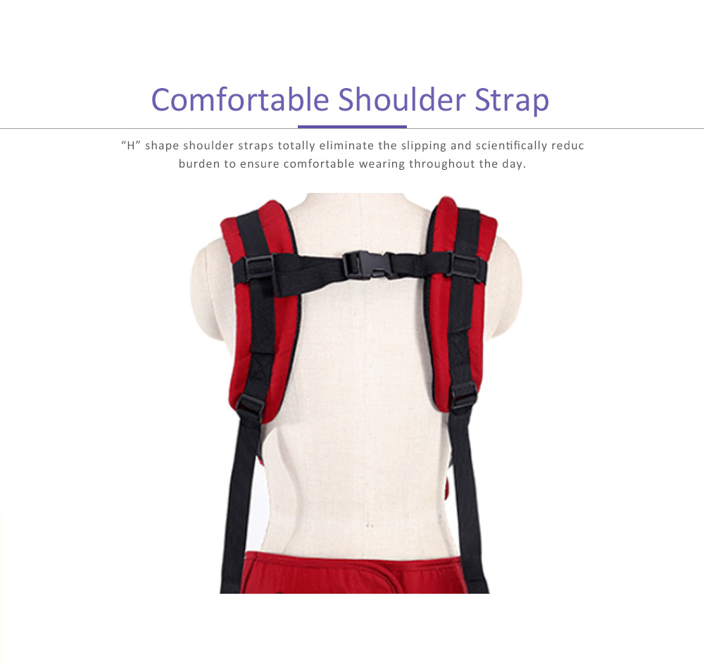 Multifunctional Baby Carrier with Breathable Hip Seat for Four Seasons General, Detachable Strap One Size Fits All -Adapt to Newborn and Infant 1