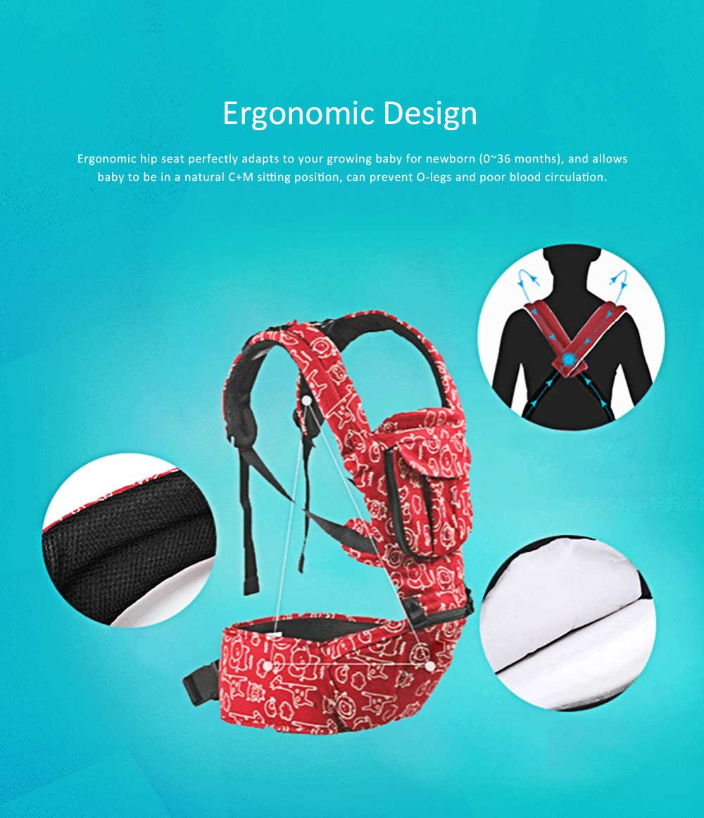 Front Embrace Waist Stool, Multifunctional Baby Carrier with M-Type for Four Seasons General, Breathable and Detachable Strap 2