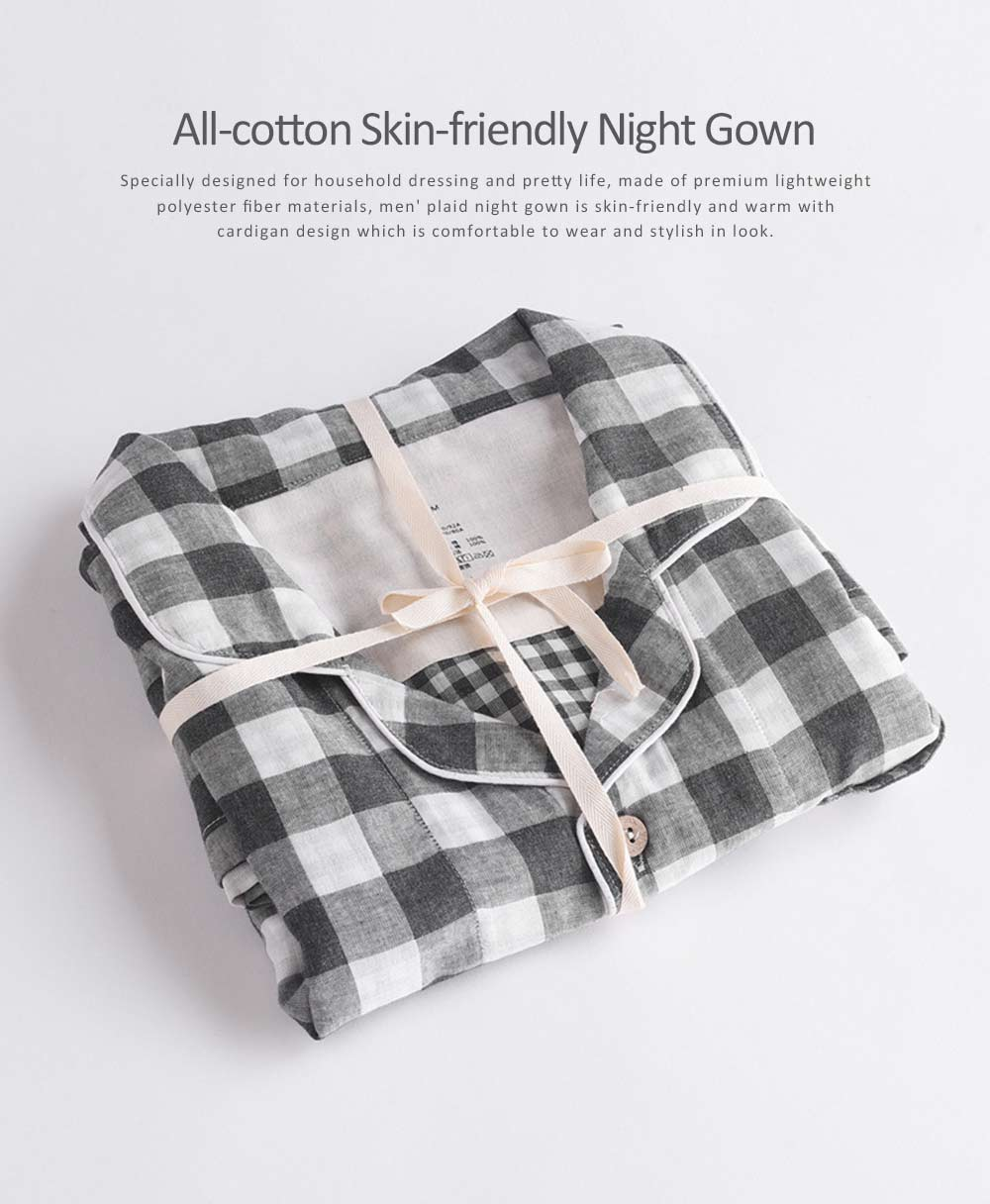 Men's Plaid Night Gown, Simple & Comfortable Long Sleeve Cardigan Pajama Suit for Household Dressing 0