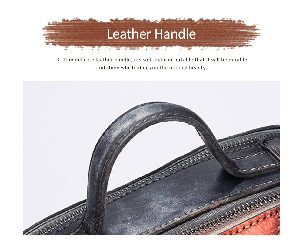 Retro Color Layer Leather Handbag With Hardware Fasteners, Fashion Original Pure Portable Diagonal Personality Small Bag 5