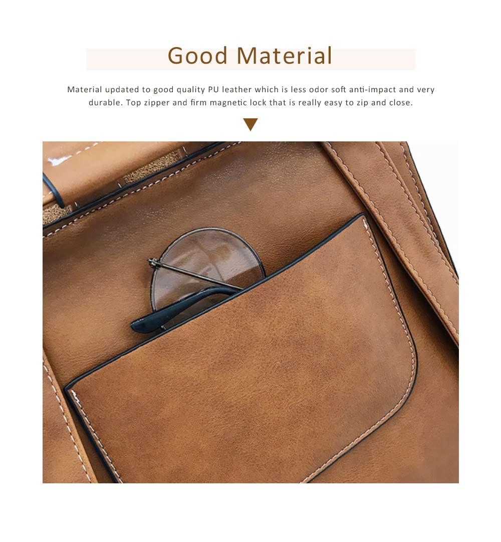 Backpack & Shoulder Bag Vintage Casual Flap PU Leather Bag Set, Large Capacity magnetic Handbags College School Bag With Shoulder Bag 1