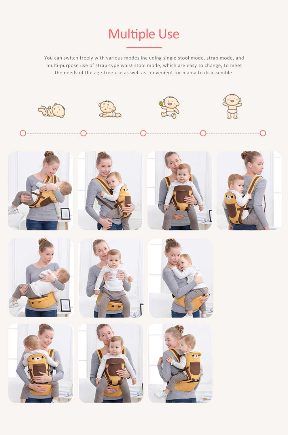Soft Breathable Baby Carrier with Cartoon Animals Design, Multiple Functional Baby Lab for Newborn, Infant Toddler 2