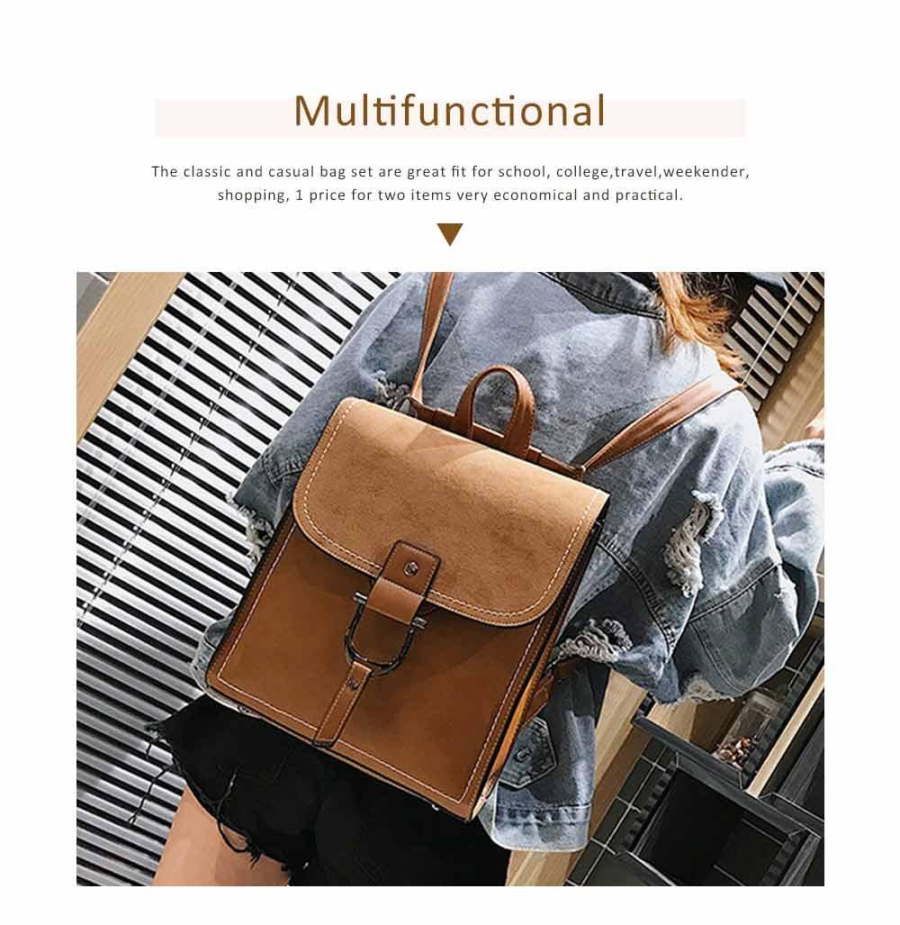 Backpack & Shoulder Bag Vintage Casual Flap PU Leather Bag Set, Large Capacity magnetic Handbags College School Bag With Shoulder Bag 4