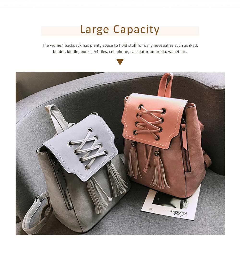 College School Bag Gifts for Women & Girl Backpack Vintage Casual Tassels PU Leather Shoulder Bag 2