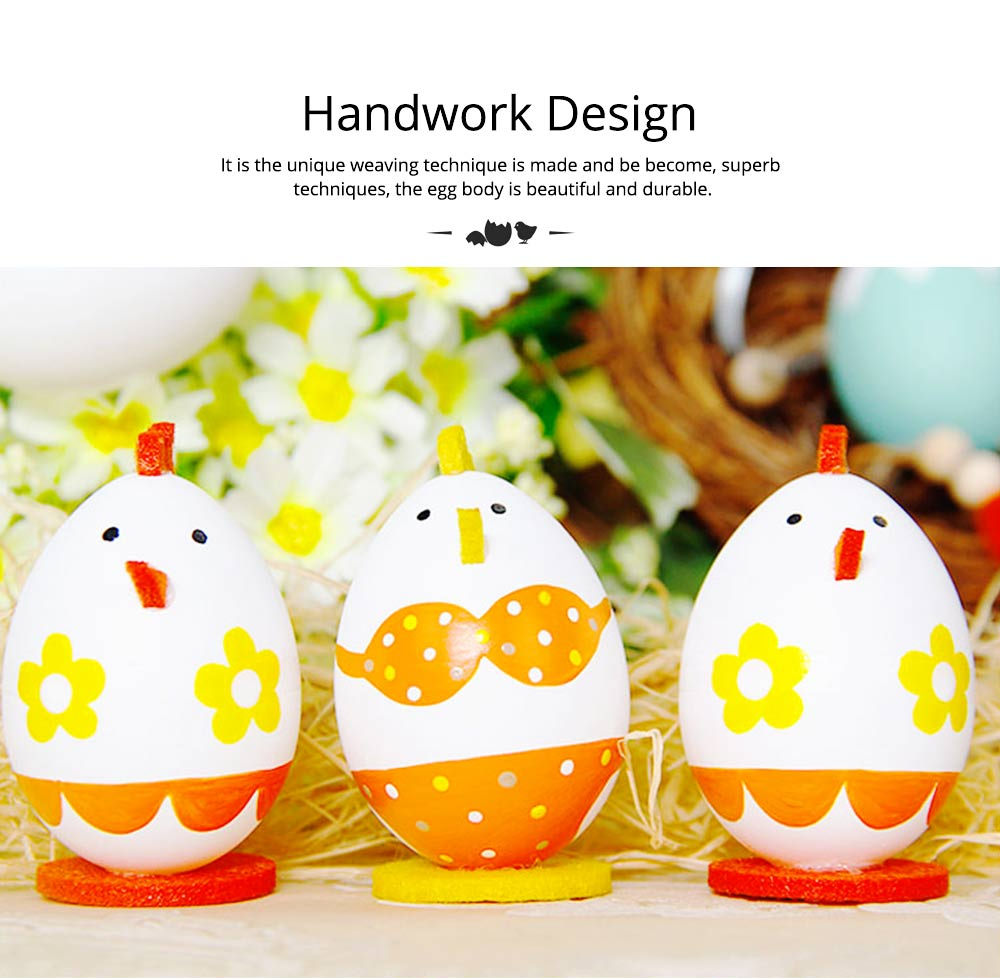 Lovely Easter Eggs, Painted Rabbit Plastic Eggs with Delicate Features, Stable Base, Cute Little Tail, Gifts for Children 12
