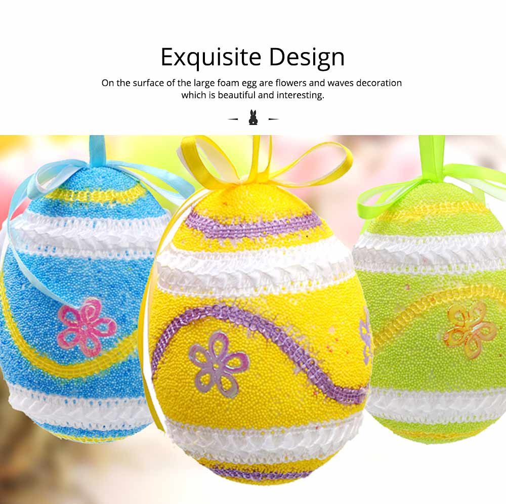 Large Foam Easter Egg Decoration 9cm, Large Size Pendant with Hanging Ribbon Easter Ornaments 2