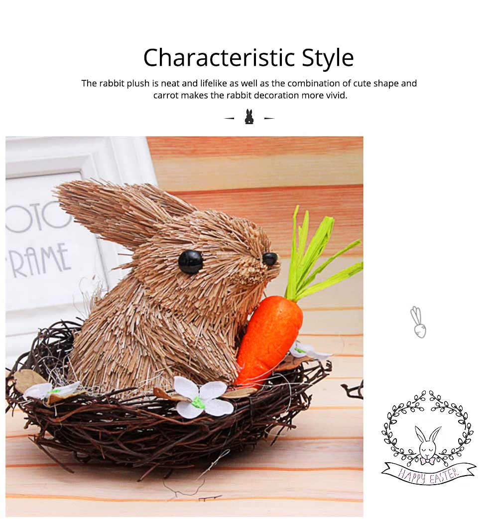 Easter Decorations - Hand-made Straw Bunny with Thorns Nest and Carrots, Mall and Shop Pendant 6