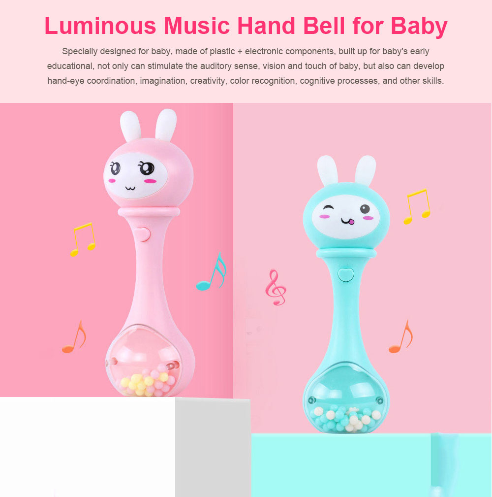 Baby Rattles Toys Early Educational Toys Bell Rattle, Safety Baby Toddler Hand Shake Bell Ring, Luminous Music Hand Bell 0