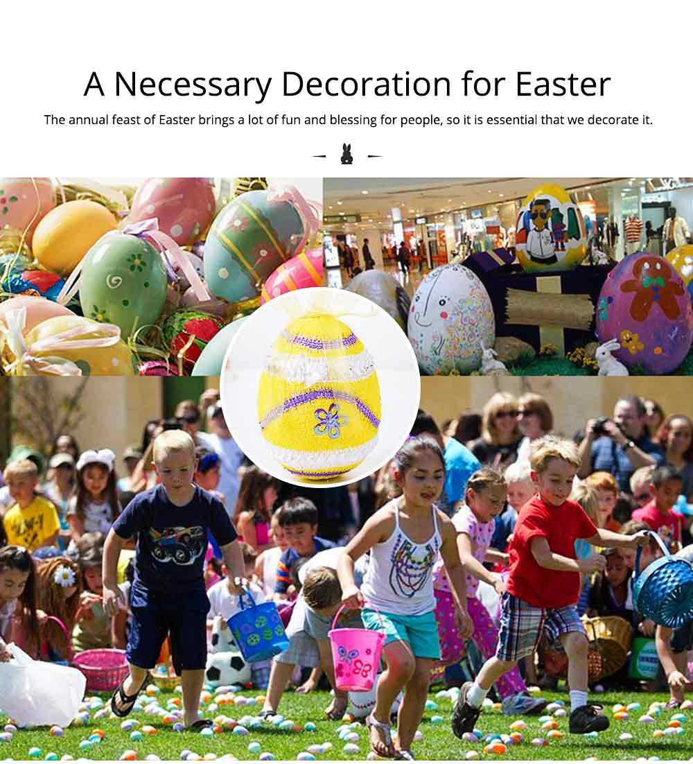 Large Foam Easter Egg Decoration 9cm, Large Size Pendant with Hanging Ribbon Easter Ornaments 1