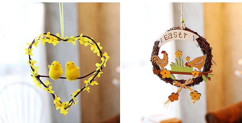 Easter Wreath Wood Bunny Chicks Eggs, Door Hanging Decorations Pendant Props 3