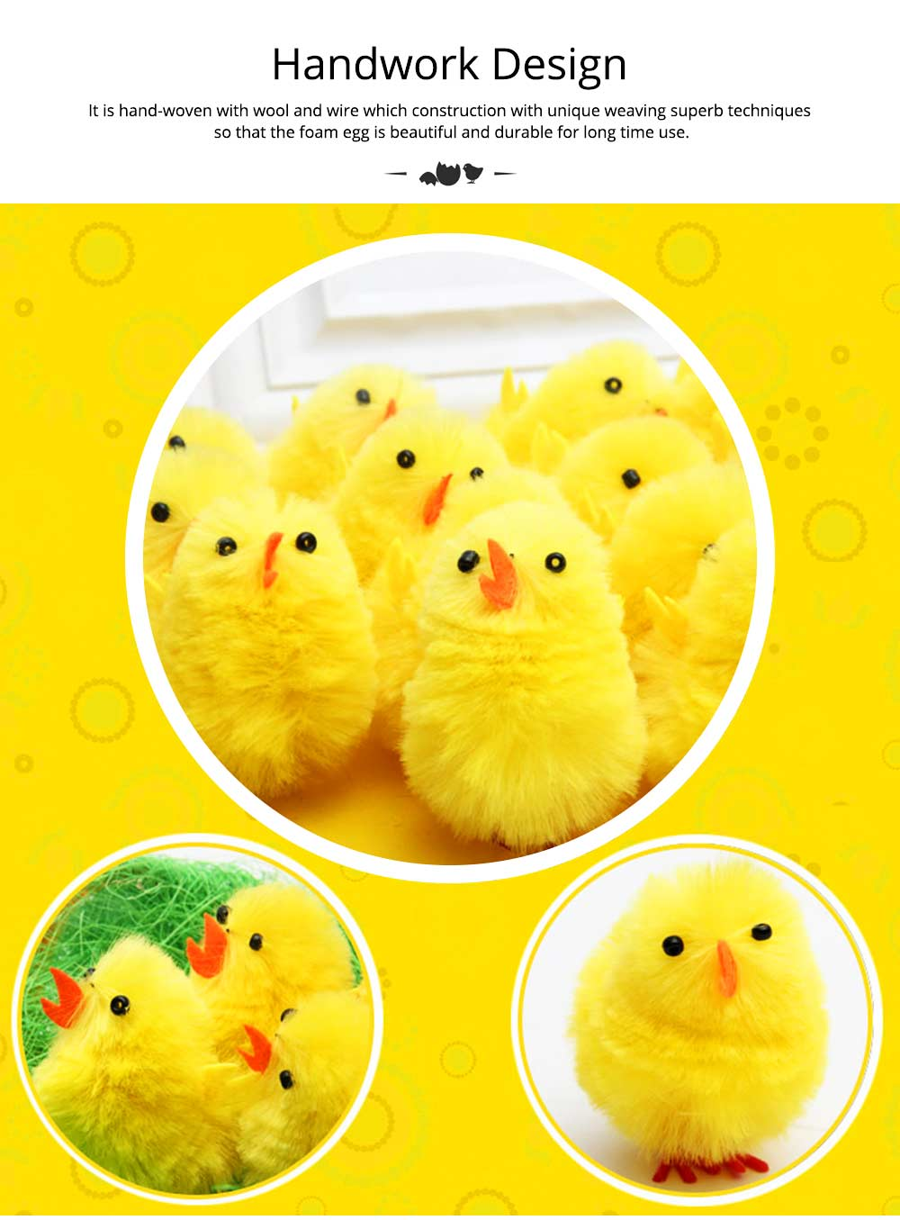 Fluffy Little Yellow Chicken with Lovely Eyes and Standing Posture, Easter Decorations, Children's Easter Gift 3