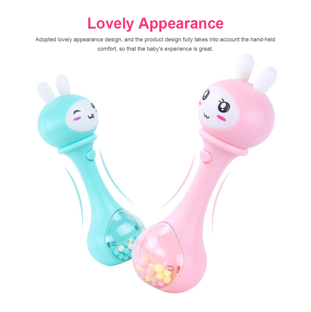 Baby Rattles Toys Early Educational Toys Bell Rattle, Safety Baby Toddler Hand Shake Bell Ring, Luminous Music Hand Bell 7