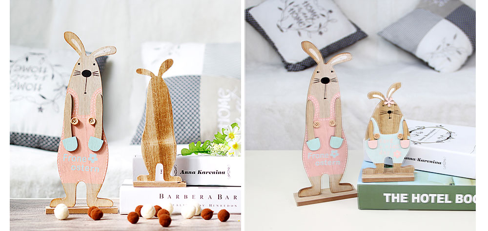Wooden Bunnies for Desk and Living Room Decoration, Log Wooden Rabbit with Texture Buckle and Cool Suspenders 6