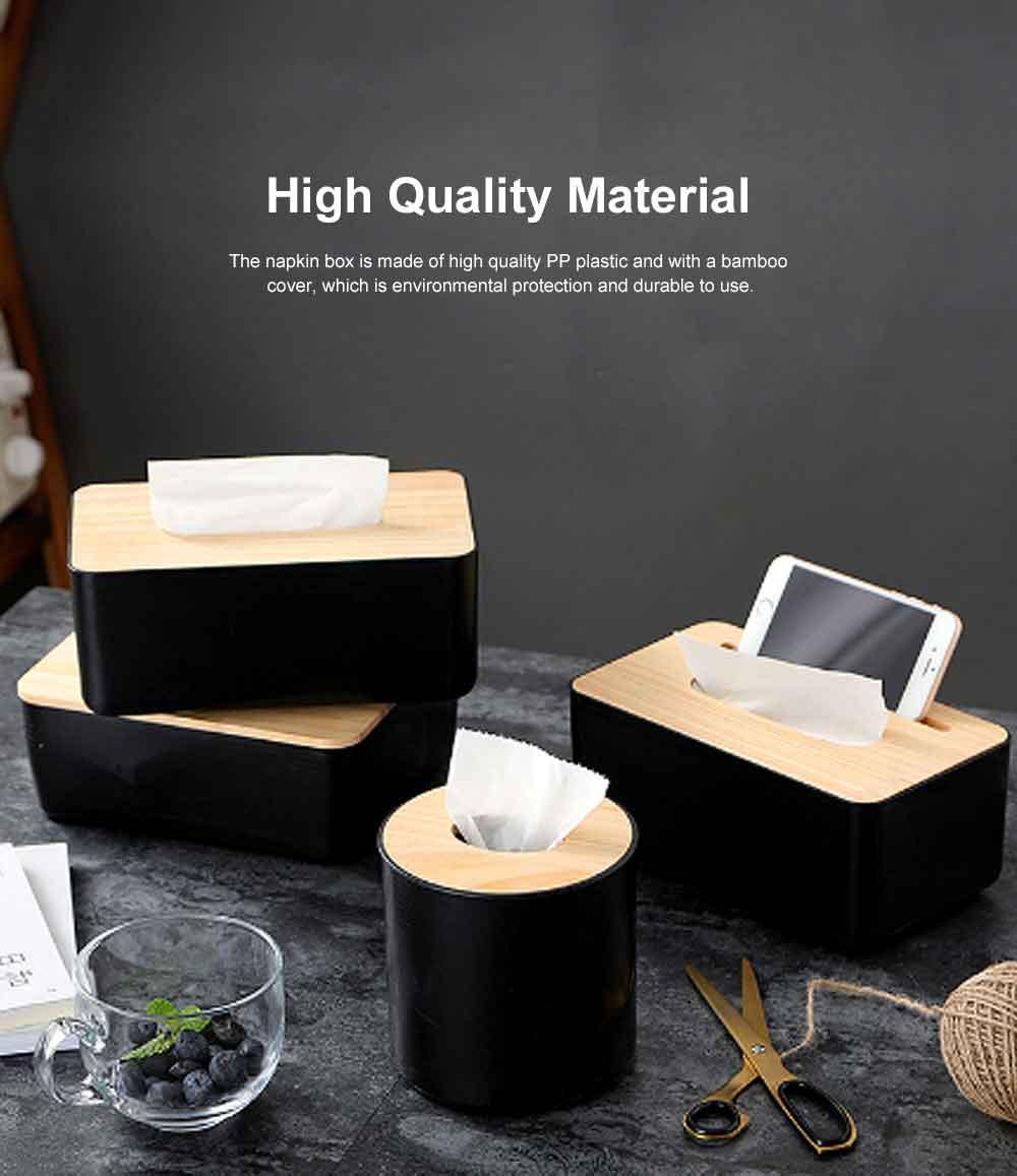 Tissue Box Wooden Cover Mobile Phone Holder, Makeup Cotton Box, On-board Black Tissue Box for Living Room, Desktop Napkin Box 1