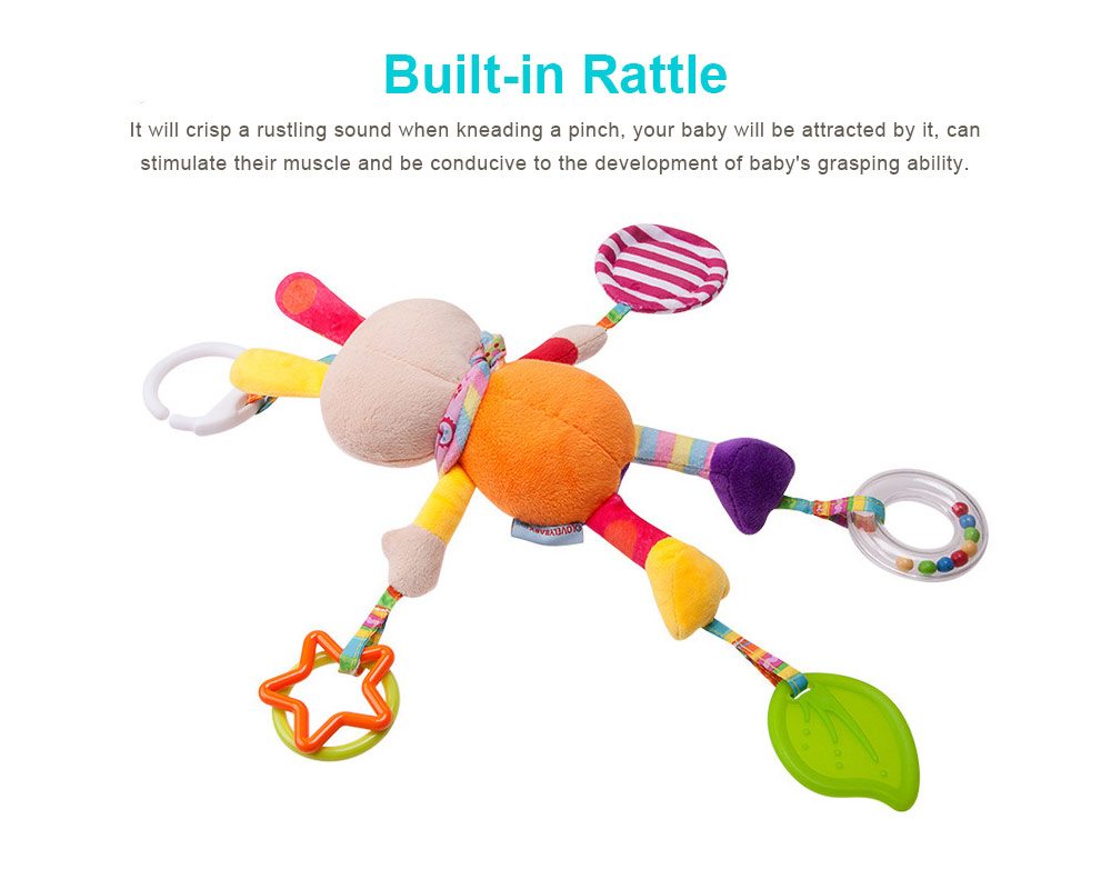Infant Baby Rattle Hanging Toys, Baby Cartoon Animals Pendant Plush Wind Chime Toys 2