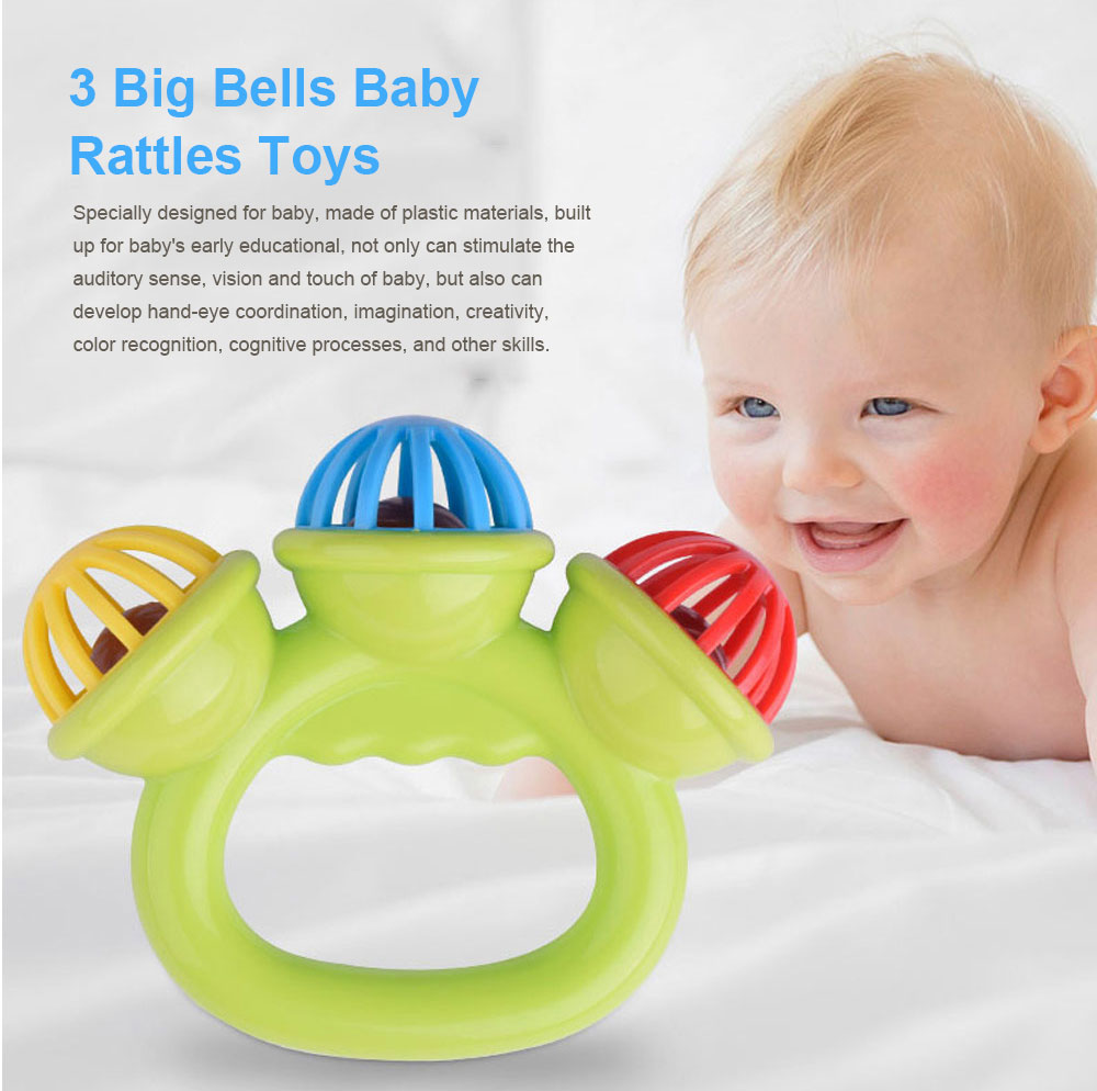 3 Big Bells Baby Early Education Toy, Hand Shake Bell Ring Baby Rattles Toys, Newborn Toddler Rattle Toys 0