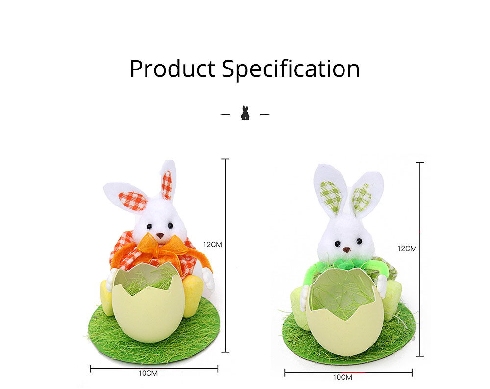 Hand-made Plush Rabbit with Egg Shell Straw, Easter Decorations, Mall and Shop Pendant 7