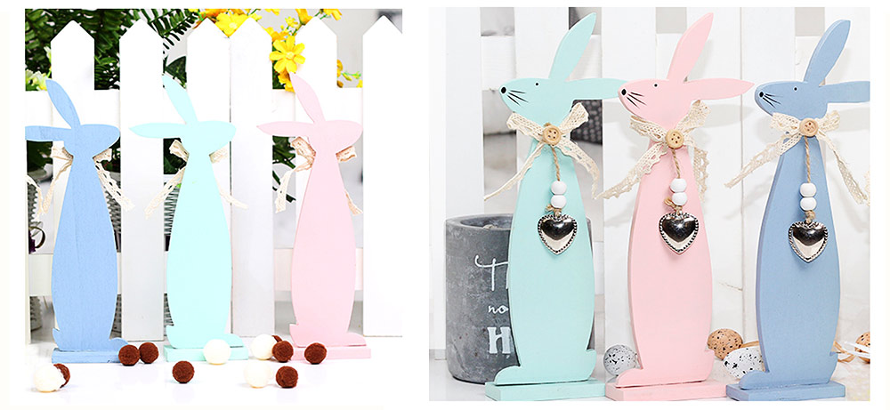 Handmade Wooden Easter Bunny for Coffee Shop & Living Room Decoration 6