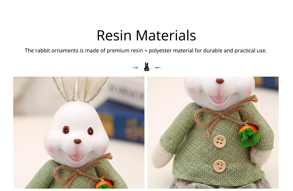Resin Rabbit Doll Ornaments, Easter Bunny Ornaments Creative Gift for Birthday Wedding Household Decoration 8