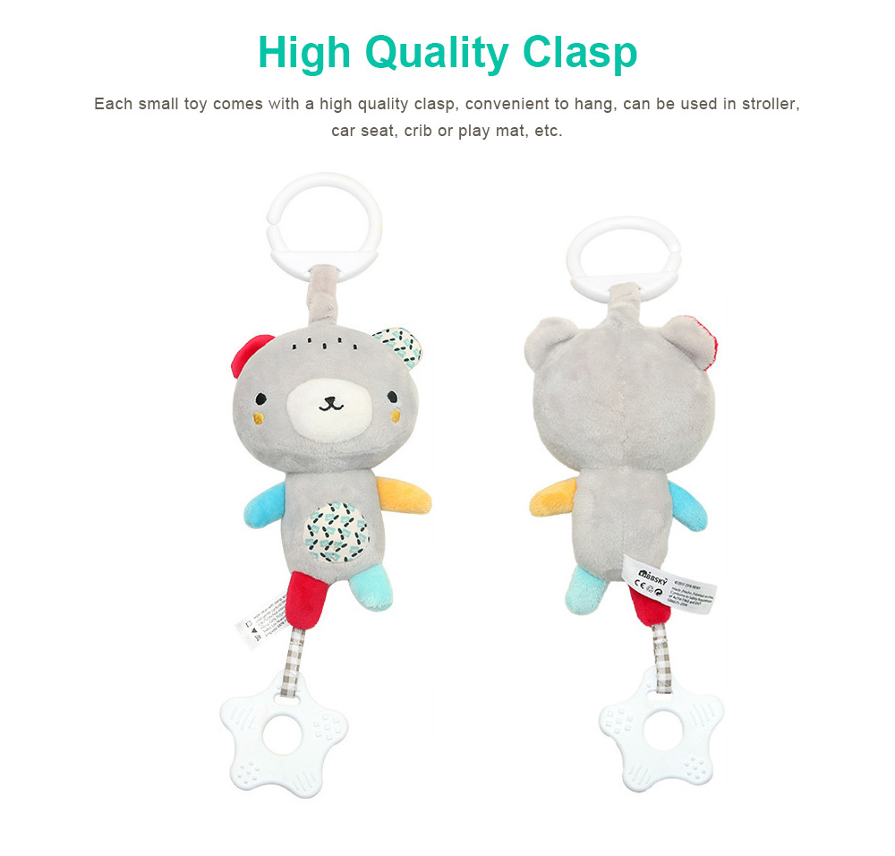 Baby Animals Pendant Plush Musical Toys, Infant Baby Rattle Hanging Toys for Stroller, Child Bed 6
