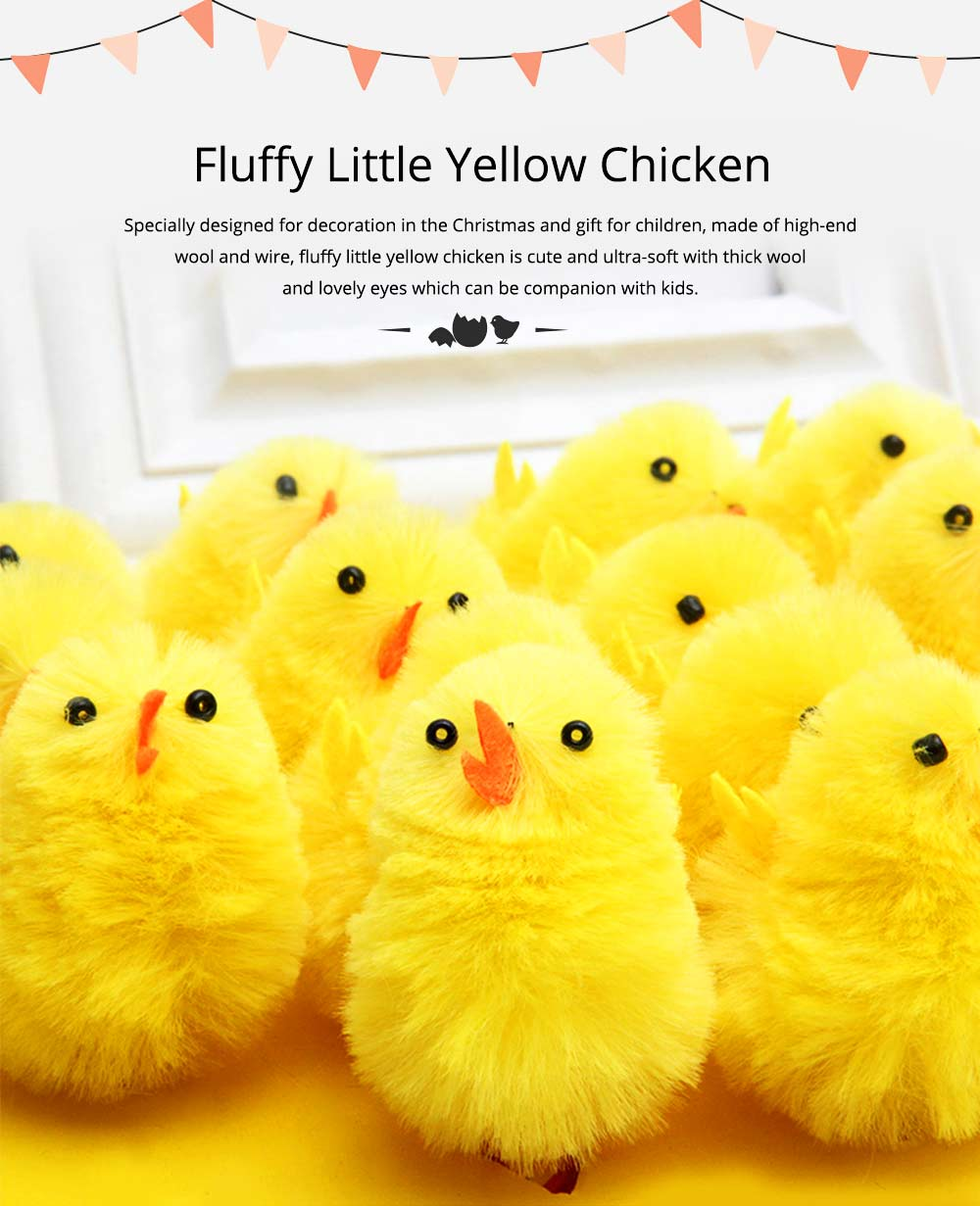 Fluffy Little Yellow Chicken with Lovely Eyes and Standing Posture, Easter Decorations, Children's Easter Gift 0