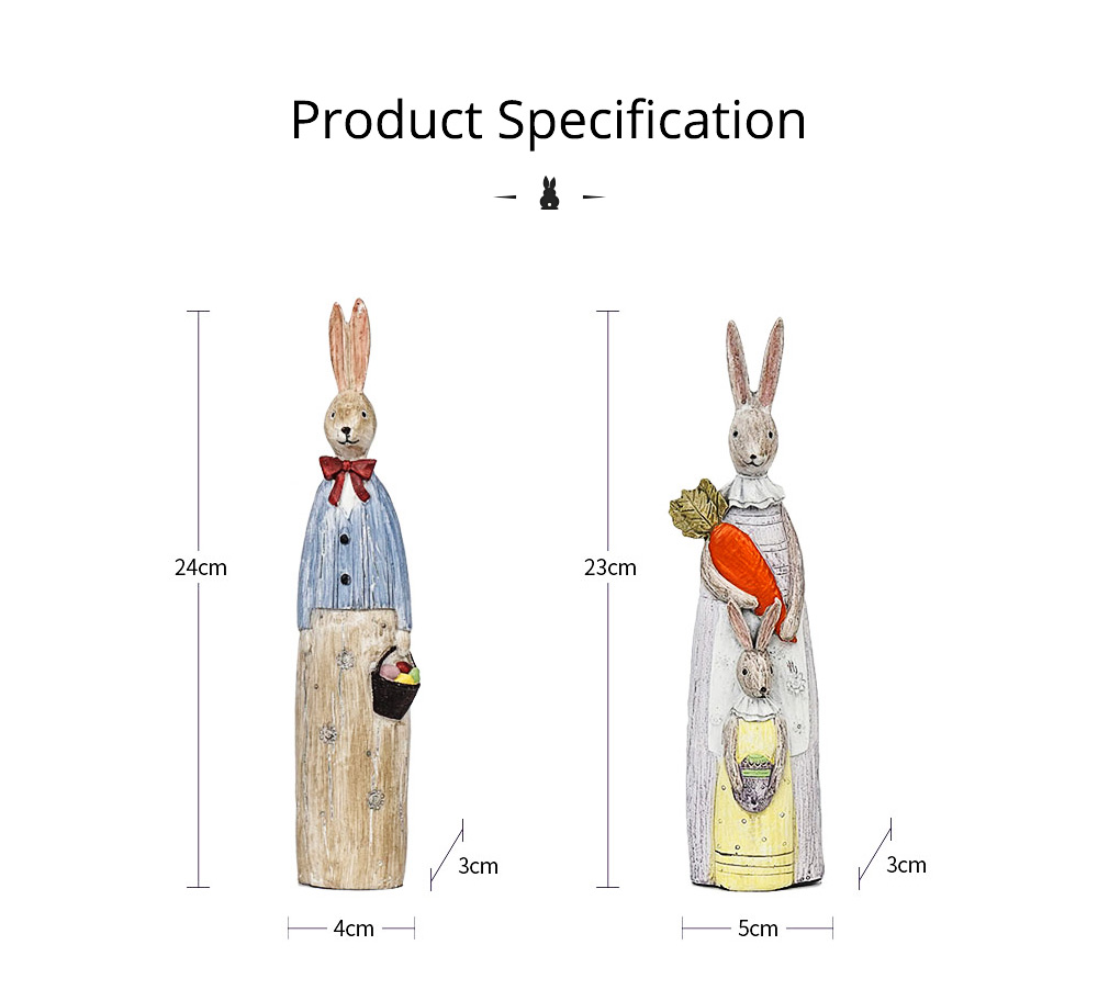 Resin Rabbit Crafts Ornaments Gifts for Easter Birthday, Pastoral Hand-painted Rabbit Decoration 16