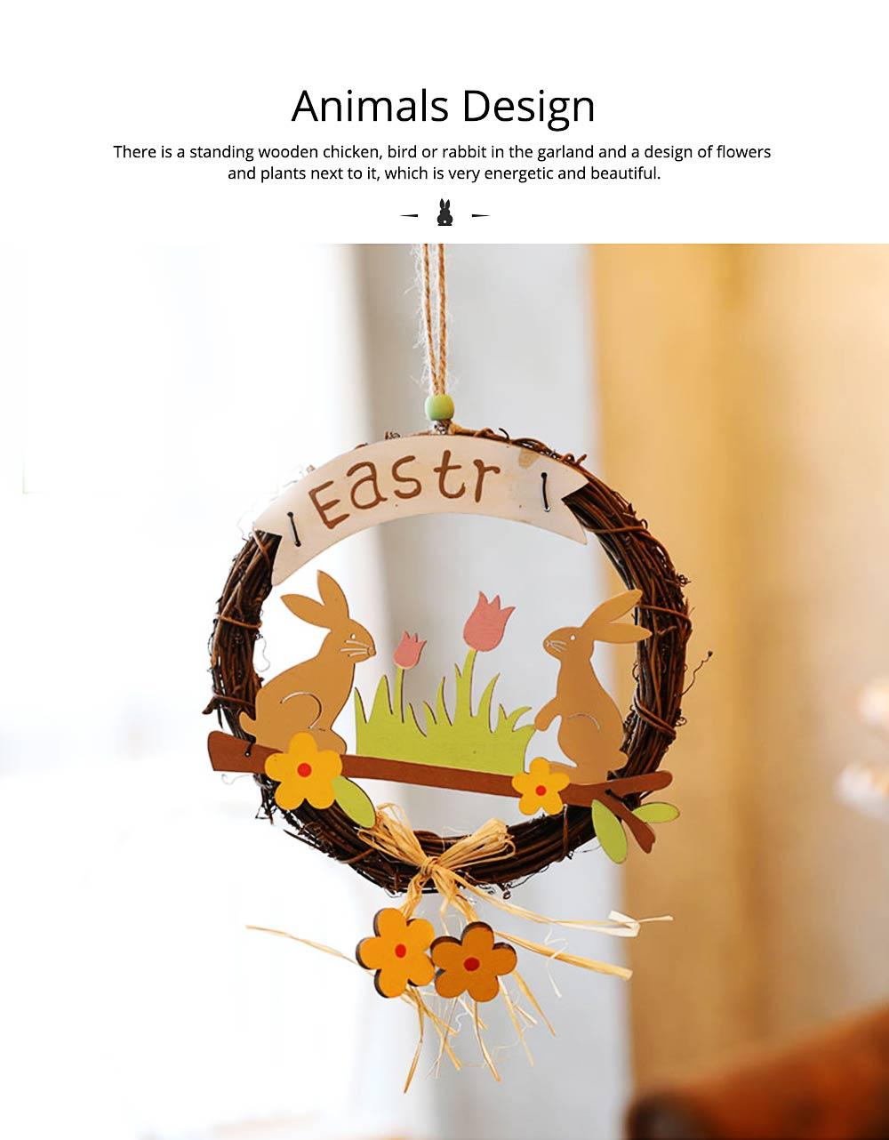 Easter Wreath Wood Bunny Chicks Eggs, Door Hanging Decorations Pendant Props 2