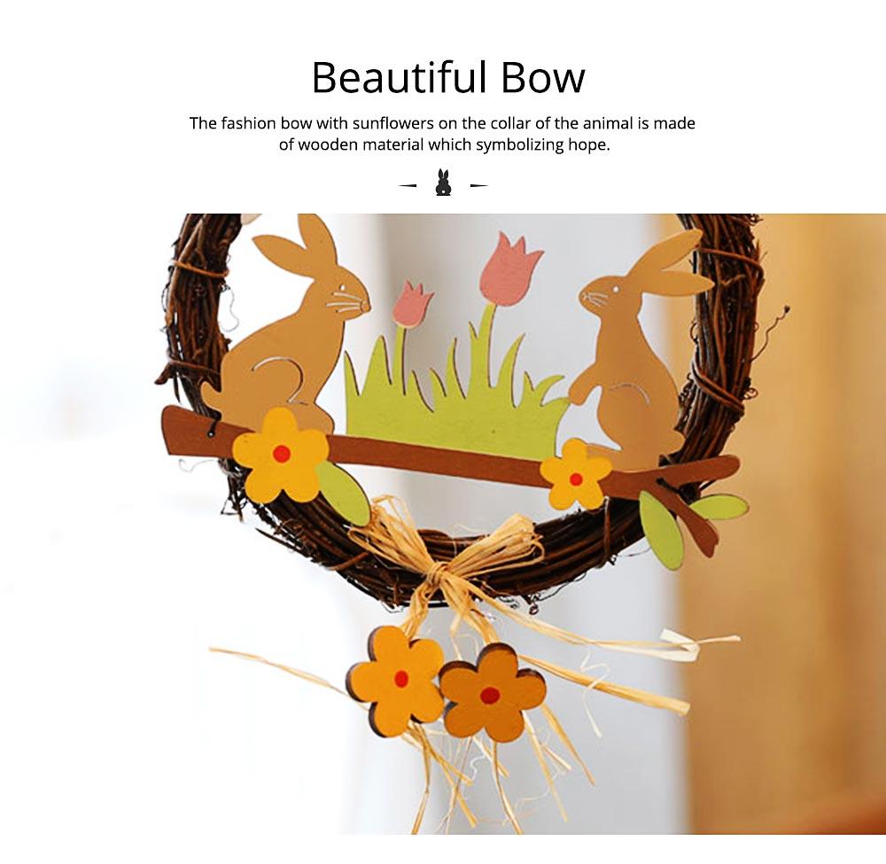 Easter Wreath Wood Bunny Chicks Eggs, Door Hanging Decorations Pendant Props 6