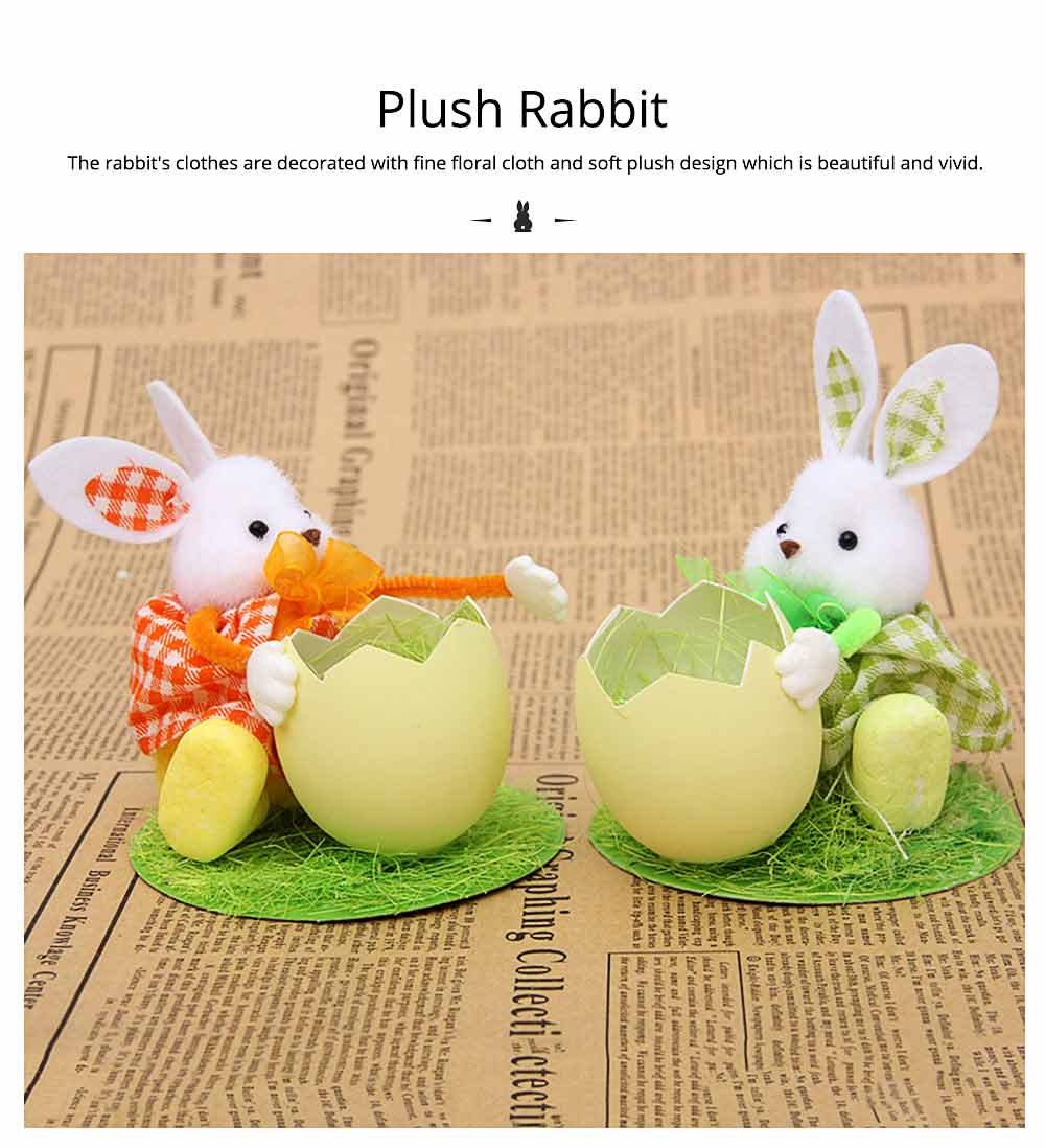 Hand-made Plush Rabbit with Egg Shell Straw, Easter Decorations, Mall and Shop Pendant 6
