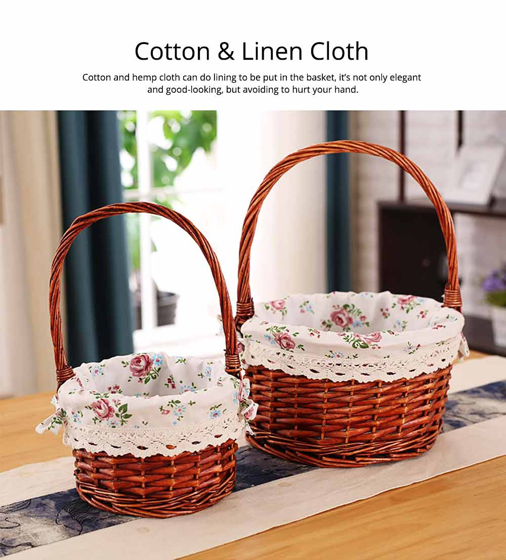 Mini Picnic Basket for Children, Willow Woven Hand-basket with Cotton and Linen Lining and Bud Silk 2