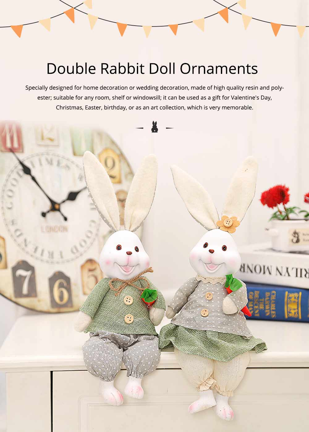 Resin Rabbit Doll Ornaments, Easter Bunny Ornaments Creative Gift for Birthday Wedding Household Decoration 0