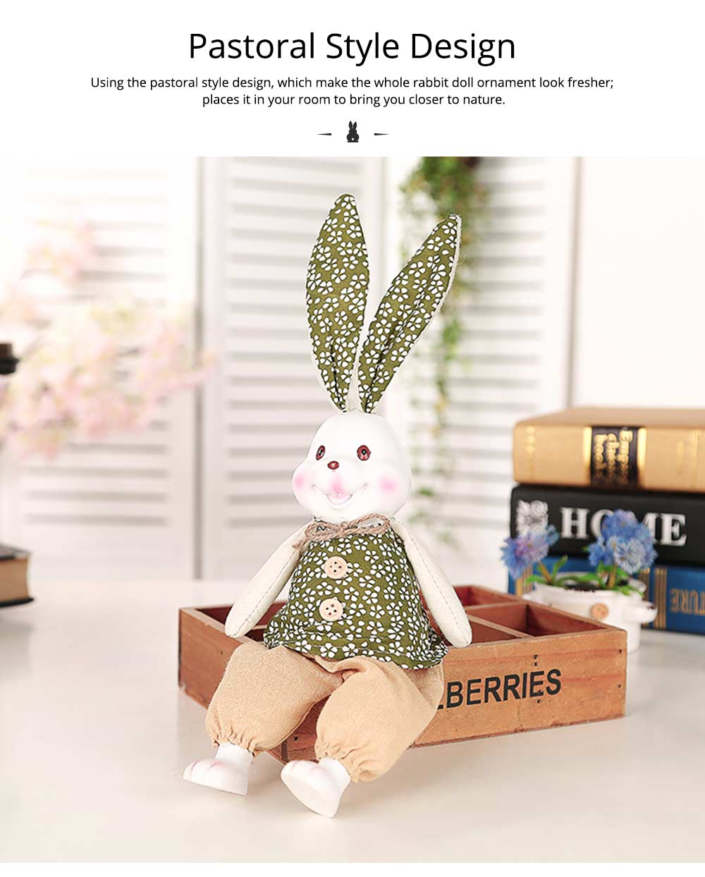 Resin Rabbit Doll Ornaments, Easter Bunny Ornaments Creative Gift for Birthday Wedding Household Decoration 7