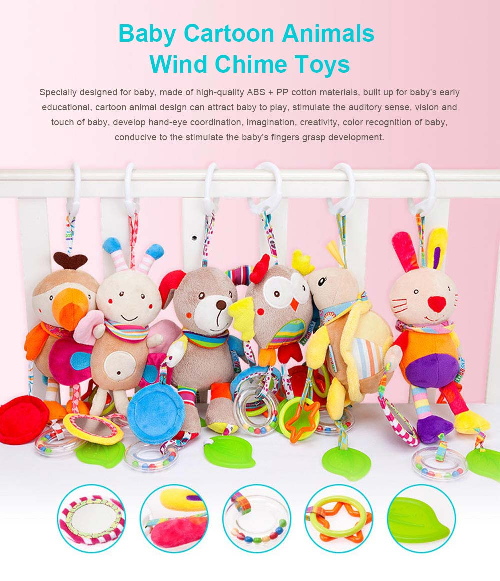 Infant Baby Rattle Hanging Toys, Baby Cartoon Animals Pendant Plush Wind Chime Toys 0