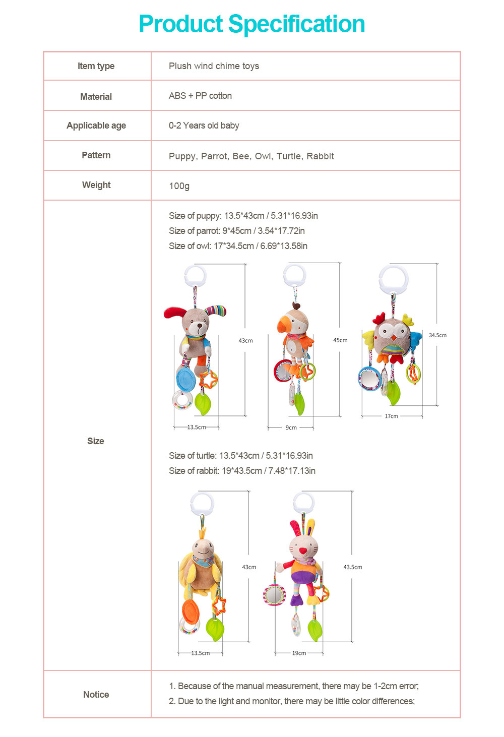 Infant Baby Rattle Hanging Toys, Baby Cartoon Animals Pendant Plush Wind Chime Toys 6