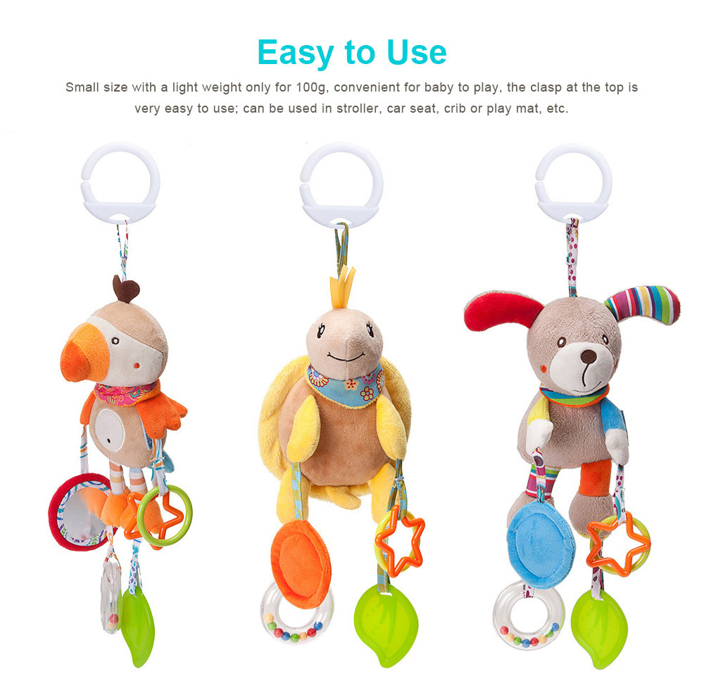 Infant Baby Rattle Hanging Toys, Baby Cartoon Animals Pendant Plush Wind Chime Toys 5