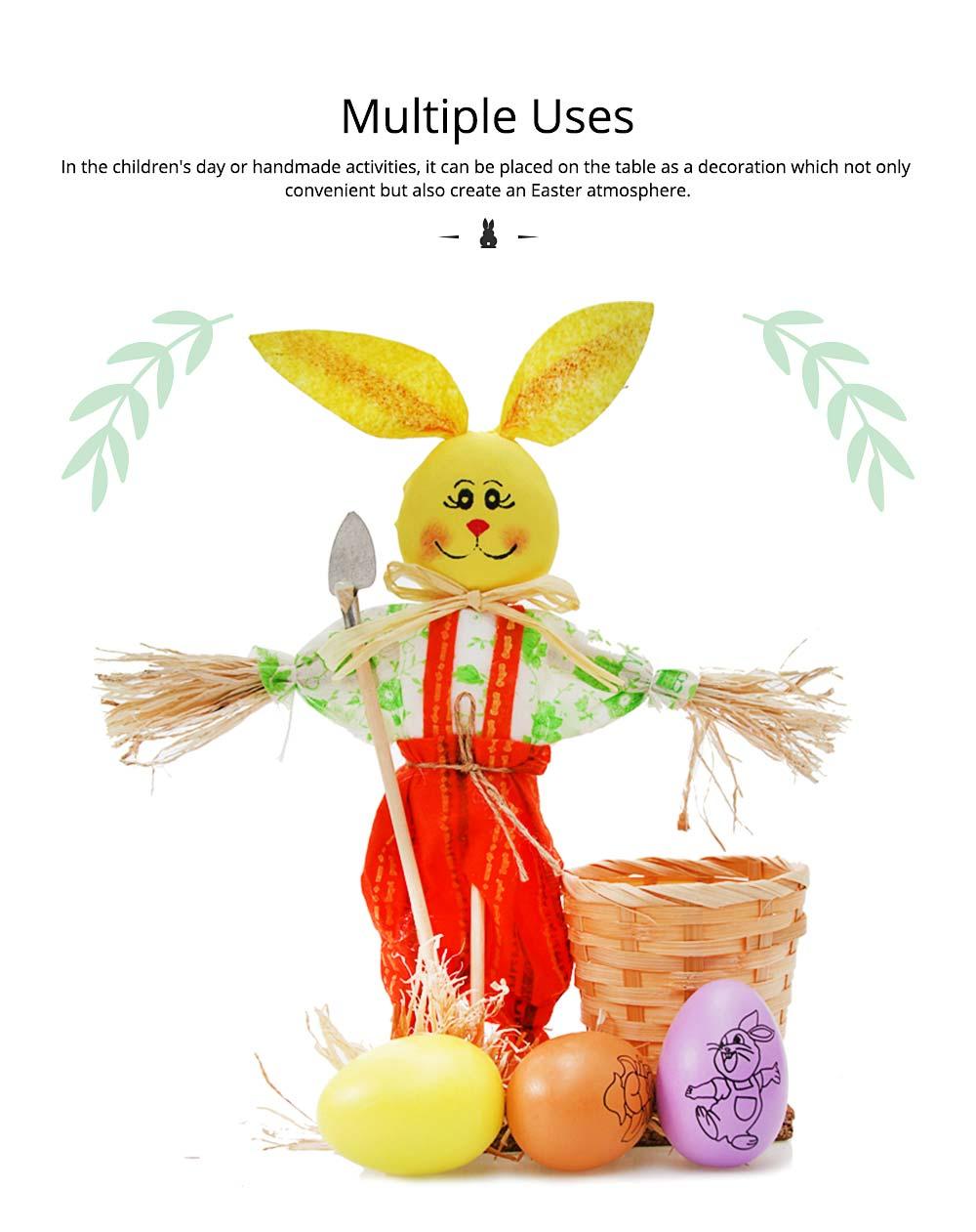 Easter Bunny Decorates as Brush Pot with Cute Rabbit Scarecrow Design, Kindergarten Gift 2