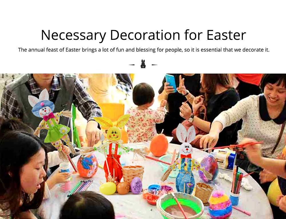 Easter Bunny Decorates as Brush Pot with Cute Rabbit Scarecrow Design, Kindergarten Gift 1