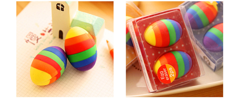 Fun Easter Gifts For Toddlers - Flexible Colored Eraser with Eggs Design, 2PCS 8