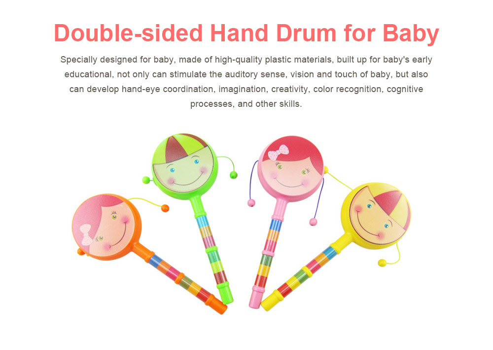 Baby Cartoon Shaking Rattle Ring Bell Drum Toys, Hand Shake Bell Funny Educational Toys 0