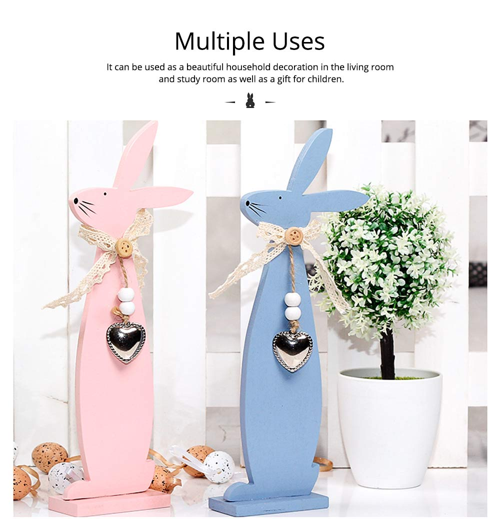 Handmade Wooden Easter Bunny for Coffee Shop & Living Room Decoration 5