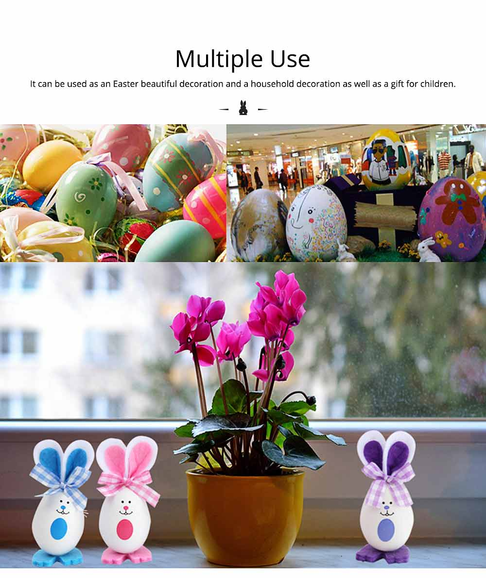 Plastic Easter Bunny Eggs with Delicate Bow and Lovely Face, Pendant and Gift for Children 1