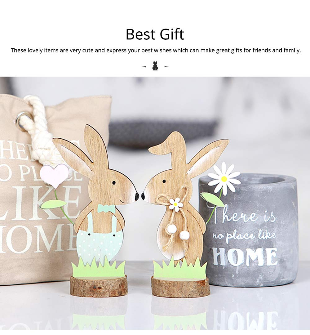 Office and Living Room Easter Decoration - Handmade Wooden Animals with Texture Buckle and Hanging Bead 8
